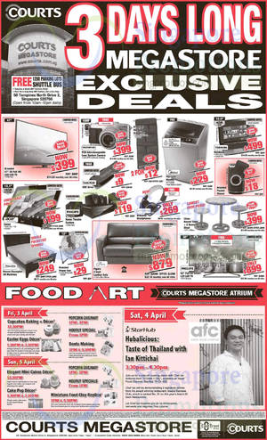 Featured image for Courts 3 Days Deals, Food Art, Bukit Timah Grand Opening & More 3 – 5 Apr 2015