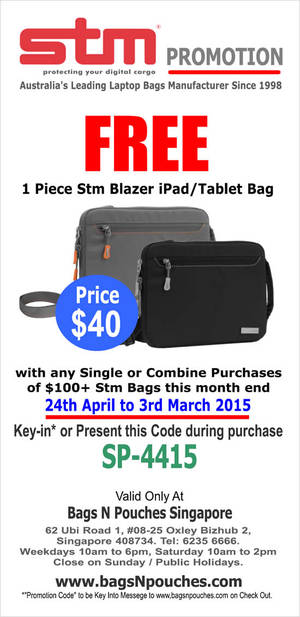 Featured image for STM Bags Online & In-Store Free Gift Promotion 24 Apr – 3 May 2015