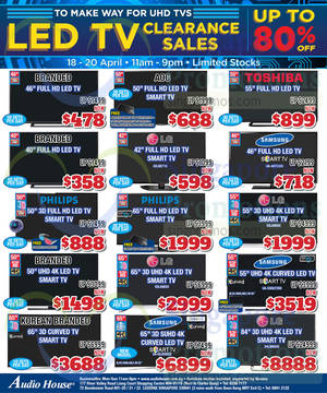 Featured image for Audio House Electronics, TV, Notebooks & Appliances Offers 18 – 20 Apr 2015