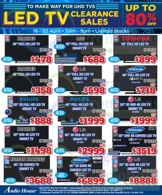 LG 42LN5710 TV, Samsung UA46F5300 TV, LG 55LA9650 TV, LG 65LA9650 TV, Samsung UA55HU7200 TV, Samsung UA65JS9000 TV, LG 84LM9600 TV