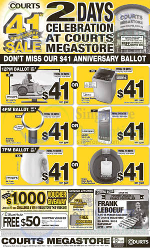 Featured image for Courts 41st Anniversary Sale Offers 18 – 20 Apr 2015