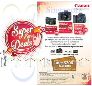 Featured image for Canon Digital Cameras Up To $200 Cashback Offer 1 Apr – 28 Jun 2015