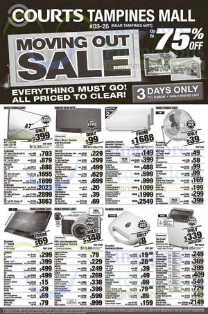 Featured image for Courts Moving Out Sale @ Tampines Mall 1 – 3 May 2015