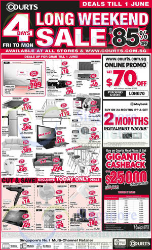 Featured image for Courts Long Weekend Sale 31 May – 1 Jun 2015