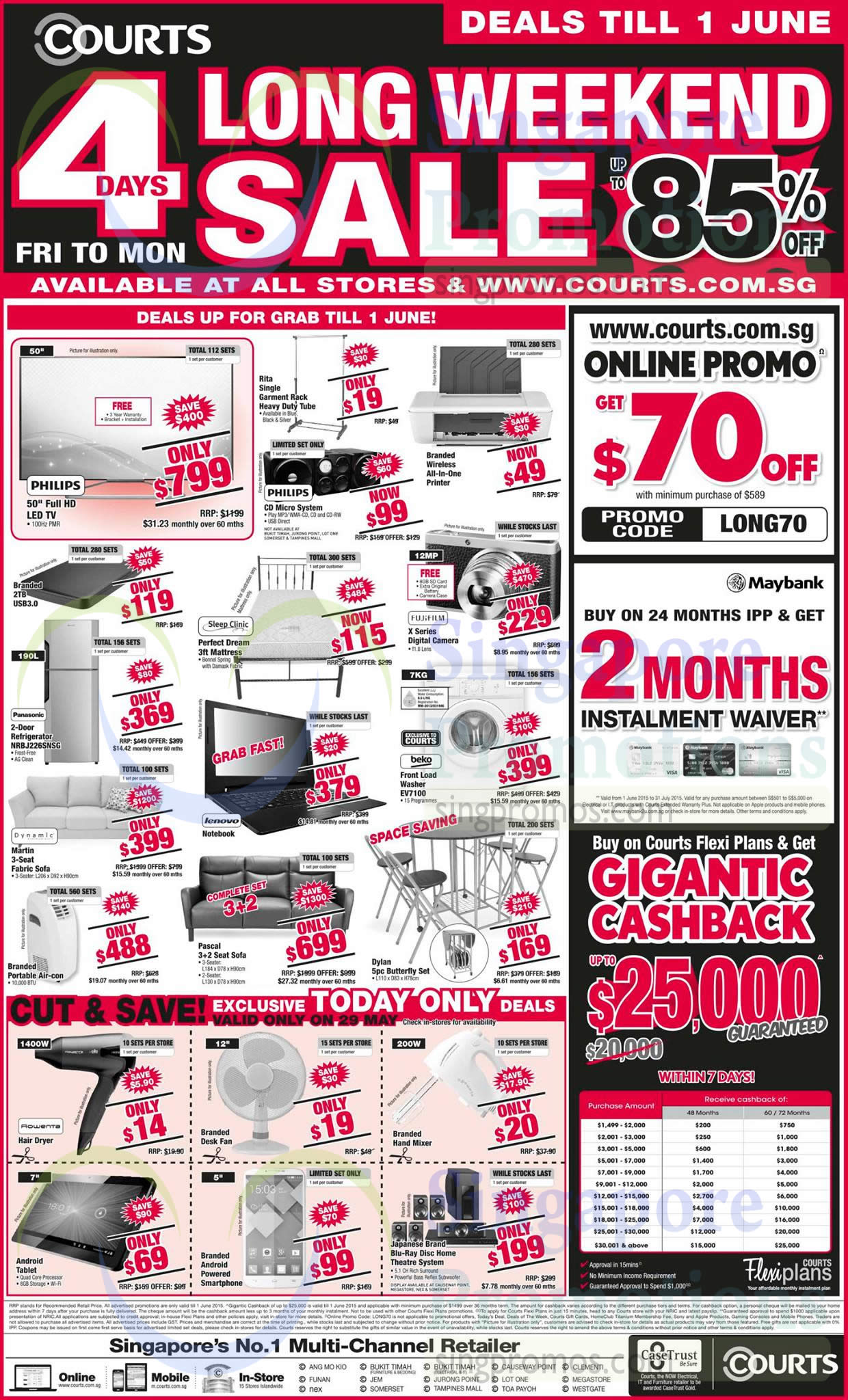 Featured image for Courts Long Weekend Sale 31 May - 1 Jun 2015