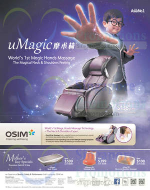 Featured image for Osim Massagers Mother's Day Specials & Roadshows 8 – 10 May 2015