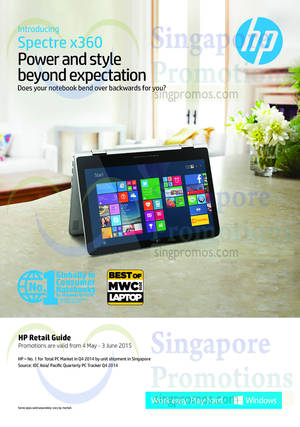 Featured image for HP Notebooks, Desktop PCs & Accessories Offers 4 May – 3 Jun 2015