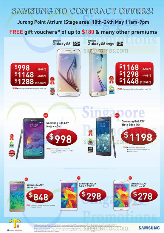 Samsung Mobile Phones Samsung Galaxy S6, Samsung Galaxy S6 Edge, Samsung Galaxy Note 4, Samsung Galaxy Note Edge, Samsung Galaxy Alpha, Samsung Galaxy Tab 4 7.0, Samsung Galaxy Core Prime