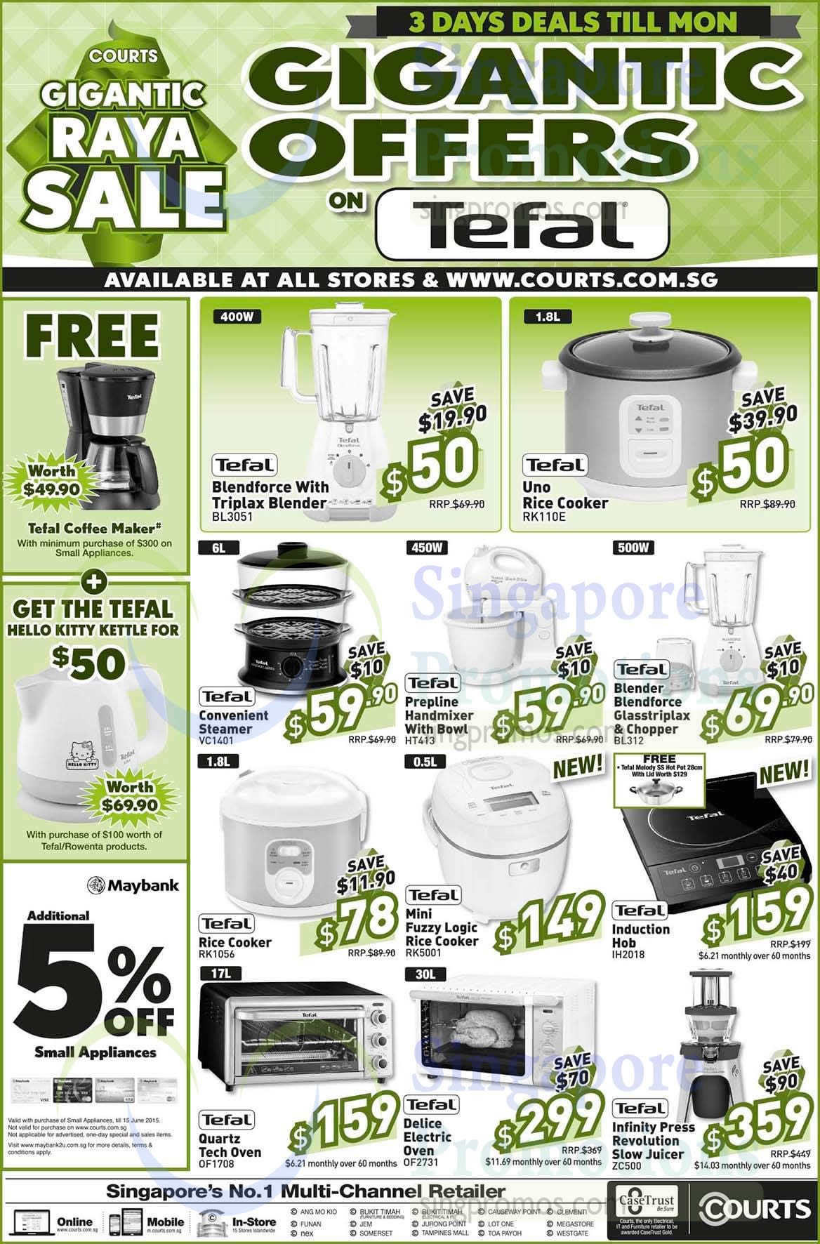 Tefal Kitchen Appliances, Blenders, Rice Cookers, Ovens, Slow Juicer, Steamer, Induction Hob ...