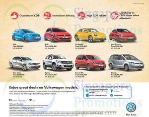 Featured image for Volkswagen Sharan, Touran TDI, Tiguan, Jetta, Scirocco, Beetle, Golf, Polo Offers 23 May 2015