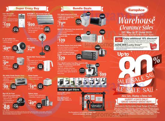 Warehouse Clearance Sales Bundle Deals, Super Crazy Buys, Home Appliances, Location Map