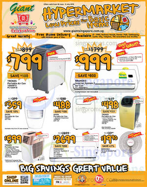 Featured image for Giant Hypermarket Air Conditioners & Fans Offers 27 Jun – 9 Jul 2015