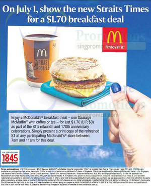 Featured image for McDonald's $1.70 Breakfast Deal For Straits Times Readers 1 Jul 2015