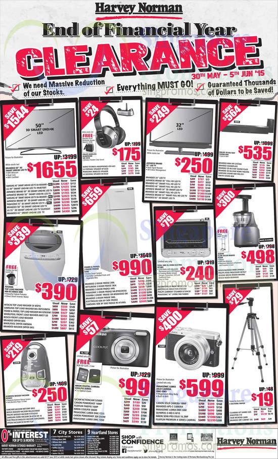 Samsung UA40JU6400 TV, LG 49UB700T TV, Samsung UA-48JU6600 TV, LG 55UF850T TV, LG NP-6530 Speakers, LG ND-8530 Speakers, Samsung HW-J551 Sound Bar, Hitachi SF-85PJS Washer, Samsung WA-90F5S9MTA Washer, Fisher & Paykel WA10T65FW1 Washer, Whirlpool AW07120 Washer, Whirlpool AWD60A Washer, Panasonic NR-BY602X5SG Fridge, Toshiba GR-WG665DAZ-ZW Fridge, Samsung RS-H7UNSL Fridge, Tefal OF1802 Oven, Takahi 1214 Fryer, Electrolux ETD33SF Induction Cooker, Philips GC504/30 Garment Steamer, Panasonic F408HS Fan, Hurom HU500 Slow Juicer, Philips HR7627 Food Processor, Severin BM3990 Bread Maker, Bosch MUM4600 Mixer, Rowenta RO5823 Vacuum Cleaner, Karcher MV3 Vacuum Cleaner, Bosch BGL3A330GB Vacuum Cleaner, Philips FC9192/61 Vacuum Cleaner, Samsung SR-9750 VR-10 Vacuum Cleaner, Electrolux ZUF4206DEL Vacuum Cleaner, Dyson DC38 Vacuum Cleaner, SJCAM SJ5000 Digital Camera, Nikon S6600 Digital Camera, Panasonic DMC-TZ55 Digital Camera, Panasonic DMC-TZ60 Digital Camera, Panasonic DMC-GM1 Digital Camera, Panasonic DMC-G6K Digital Camera and Olympus O-MD E-M10 Digital Camera