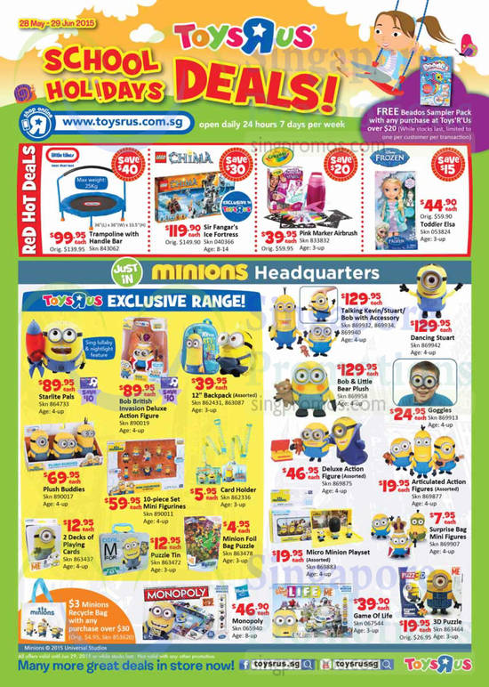 """Little Tikes Trampoline with Handle Bar, Lego Chima SIr Fangar's Ice Fortress, Crayola Pink Marker Airbrush, Disney Frozen Toddler Elsa, Minions Headquarters Starlite Pals, Minions Headquarters Bob British Invasion Deluxe Action Figure, Minions Headquarters 12"""" Backpack (Assorted), Minions Headquarters Plush Buddies, Minions Headquarters 10-piece Set Mini Figurines, Minions Headquarters Card Holder, Minions Headquarters Talking Kevin With Accessory, Minions Headquarters Talking Stuart With Accessory, Minions Headquarters Talking Bob With Accessory, Minions Headquarters Dancing Stuart, Minions Headquarters Bob & Little Bear Plush, Minions Headquarters Deluxe Action Figure (Assorted), Hasbro Monopoly and The Game Of Life"""
