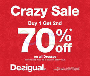 Featured image for Desigual 70% Off 2nd Dress @ IMM 22 Jul – 11 Aug 2015