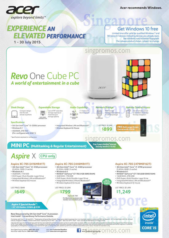 Acer Revo One Cube PC, Acer Aspire XC-705 Desktop PC