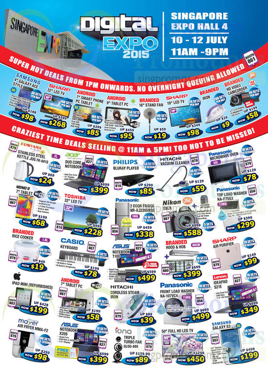 Samsung Galaxy Ace Style, Fumiyama FK-601S Kettle Jug, Acer Duo Core Notebook, Panasonic NR-BJ226SNSG Fridge, Panasonic NA-F75S3 Washer, ASUS T100 Notebook, Apple iPad Mini, Panasonic NA-107VC4 Washer, Lenovo Ideapad S21E Notebook, Mayer MMA-F2 Air Fryer, ASUS X205 Notebook, Iona GLQQ-888 Fan, Samsung Galaxy S3