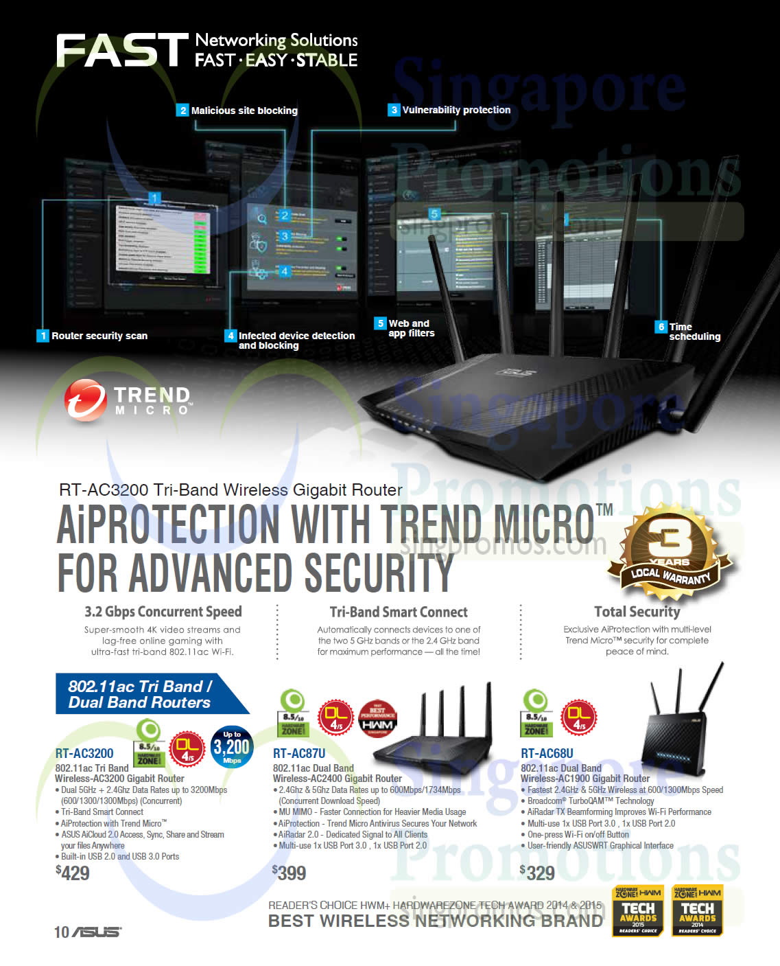 Networking Solutions Wireless Gigabit Routers Rt Ac3200 Ac87u Asus Tri Band Router Ac68u