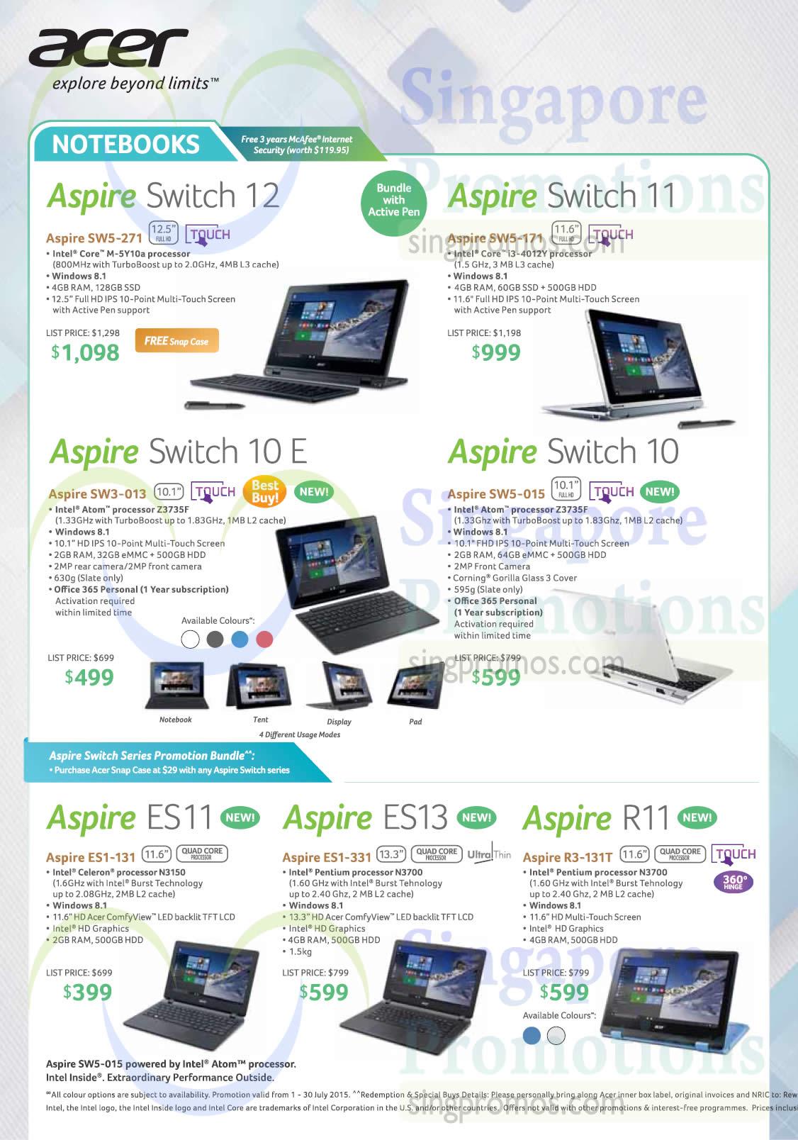 Notebooks Aspire Switch 12 Sw5 271 11 171 10 E Acer Es1 131 Sw3 013 331