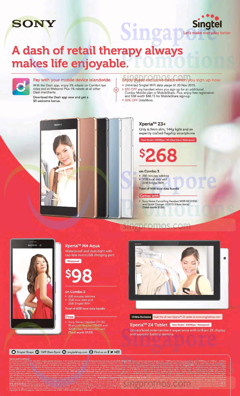Sony Xperia Z3 Plus, M4 Aqua, Z4 Tablet