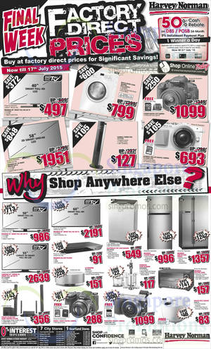 Featured image for Harvey Norman Electronics, Appliances, Furniture & Other Offers 11 – 17 Jul 2015