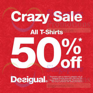 Featured image for Desigual 50% Off All T-Shirts 5 – 11 Aug 2015