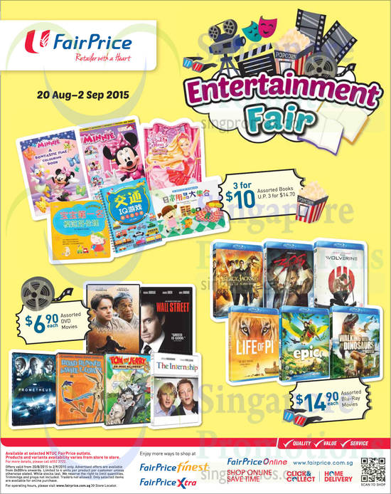 Entertainment Fair Assorted Books, Blu Ray Movies, DVD Movies