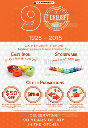 Featured image for Le Creuset 90th Anniversary Sale @ Takashimaya 2 – 15 Sep 2015