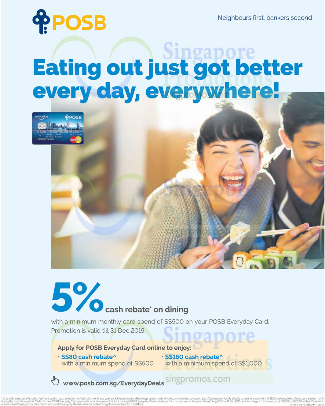 Posb 5 Dining Rebate With Everyday Card 11 Aug 31 Dec 2015