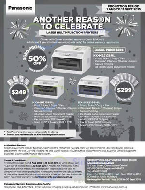 Featured image for Panasonic Laser Printers Offers 16 Aug – 13 Sep 2015