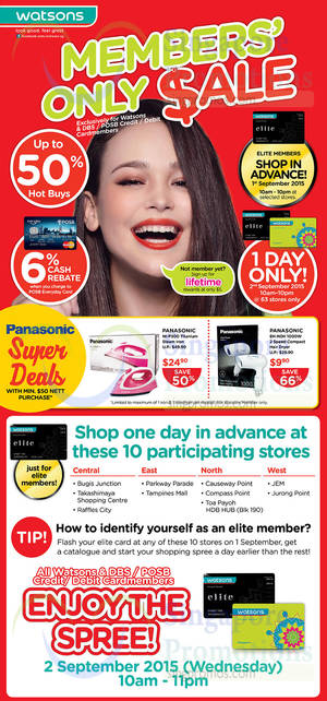 Featured image for Watsons 1-Day Up To 50% Off Sale @ 63 Stores 2 Sep 2015