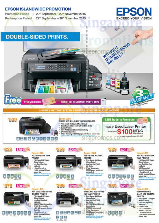 Epson L655 Printer, Epson L220 Printer, Epson L360 Printer, Epson L365 Printer, Epson L455 Printer, Epson L565 Printer, Epson L850 Printer