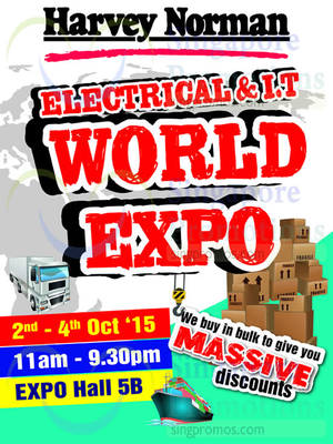 Featured image for Harvey Norman Electrical & I.T World Expo 2 – 4 Oct 2015