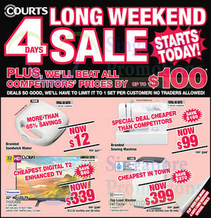 Featured image for Courts Long Weekend 4 Days Sale 11 – 14 Sep 2015