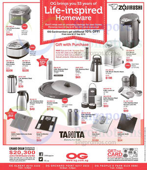 Featured image for Zojirushi & Tanita Offers @ OG 24 Sep – 7 Oct 2015