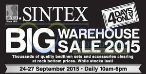 Featured image for Sintex Warehouse Sale 24 – 27 Sep 2015