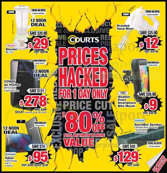 Up to 80 Percent Off 1 Day Sale Blender, Handmixer, Air Purifier, Tablet, Speaker