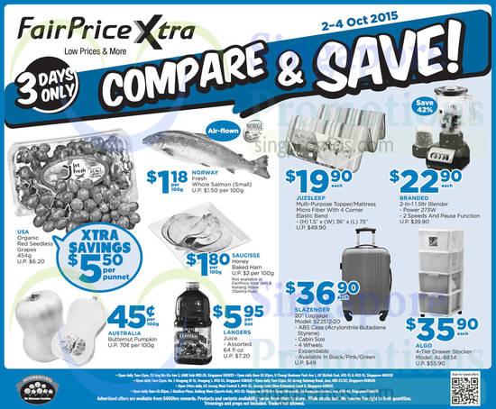 3 Days Compare n Save Grapes, Mattress, Blender, Luggage, Algo Stocker