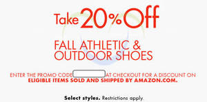 e96cbfdac5c17c Amazon.com 20% OFF Fall Athletic   Outdoor Shoes (NO Min Spend) Coupon Code  15 – 29 Oct 2015. List of Havaianas sale ...
