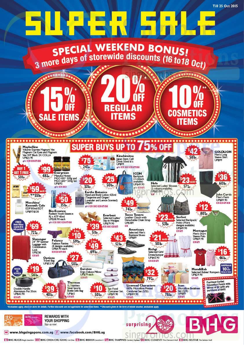 Bhg 16 Oct 2015 Bhg 20 Off Storewide Super Sale 16 18
