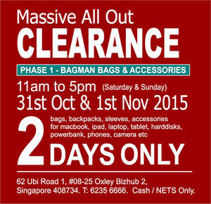 Featured image for Bagman Bags Annual Warehouse Clearance Sale 31 Oct – 1 Nov 2015
