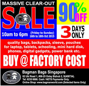 Featured image for Bagman Bags Annual Warehouse Clearance Sale 16 – 18 Oct 2015