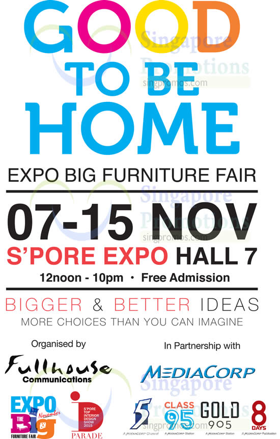 Good to be 27 oct 2015 good to be home expo big for Home furniture fair 17