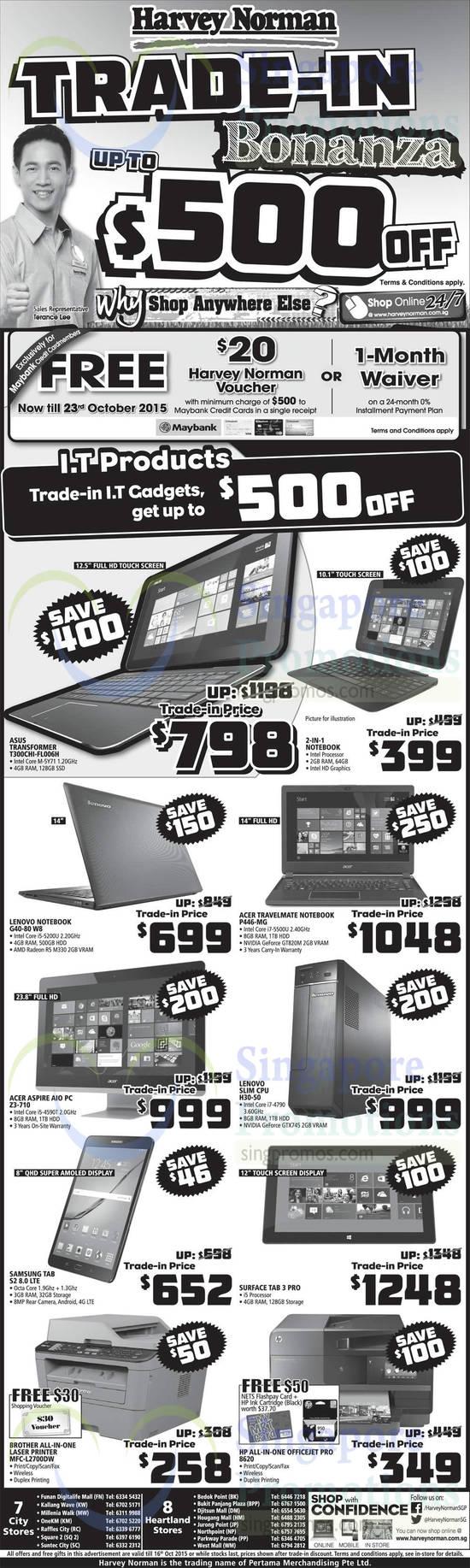 ASUS Transformer T300CHI-FL006H Notebook, Lenovo G40-80 W8 Notebook, Acer P446-MG Notebook, Acer Aspire Z3-710 AIO Desktop PC, Lenovo H30-50 CPU, Samsung Galaxy Tab S2 8.0, Microsoft Surface Tab 3 Pro, Brother MFC-L2700DW Printer, HP 8620 Printer
