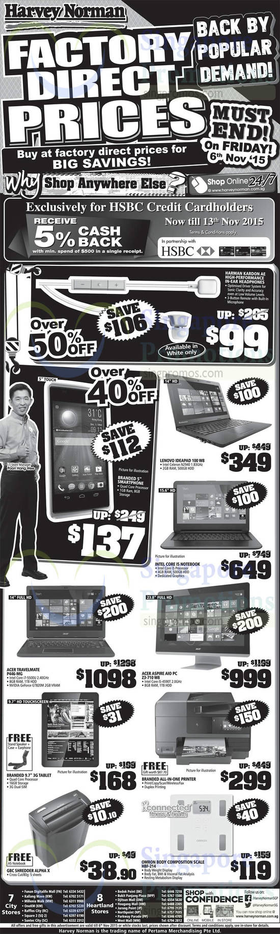 Harman Kardon AE High-Performance Headphones, Lenovo Ideapad 100 W8 Notebook, Acer Travelmate P446-MG Notebook, Acer Aspire Z3-710 W8 AIO Desktop PC, GBC Alpha X Shredder, Omron HBF-214 Body Composition Scale