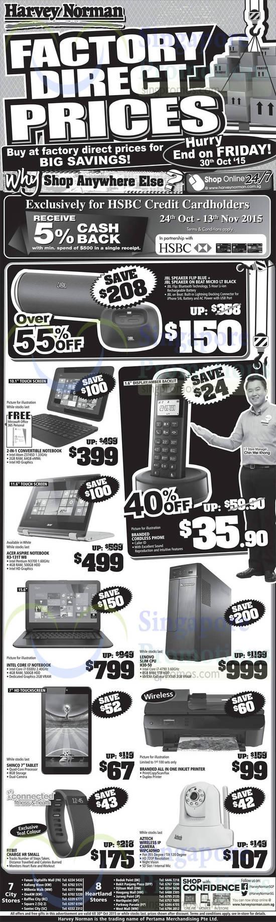 JBL Flip Blue Speaker, JBL On Beat Micro LT Black Speaker, Acer Aspire R3-131T W8 Notebook, Lenovo H30-50 CPU, Fitbit Charge HR Small Activity Tracker, Aztech WIPC409HD Wireless IP Camera