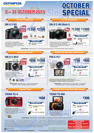 Featured image for Olympus Digital Cameras Offers 9 – 31 Oct 2015