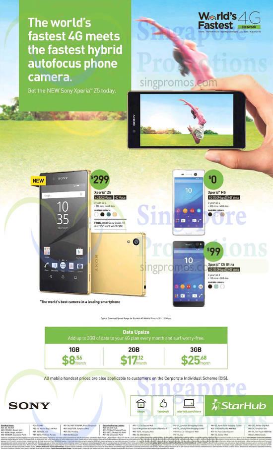 Sony Xperia Z5, Sony Xperia M5, Sony Xperia C5 Ultra, Data Upsize 1GB, 2GB, 3GB