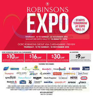 f58f8f4bc67840 Robinsons Expo   Singapore Expo 12 – 22 Nov 2015 UPDATED 14 Nov 2015. List  of Crocs Expo sale events